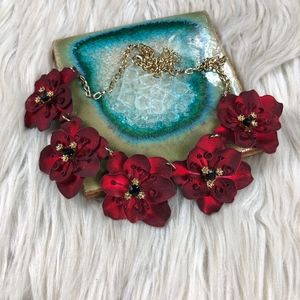 Red Gold Metallic Floral Statement Necklace